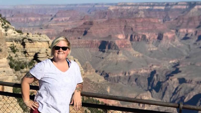 Amy Green poses in front of the Grand Canyon