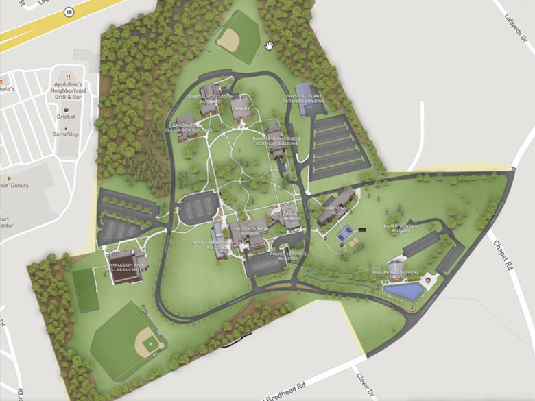 screenshot of the campus map