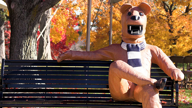 A view of the Nittany Lion bench