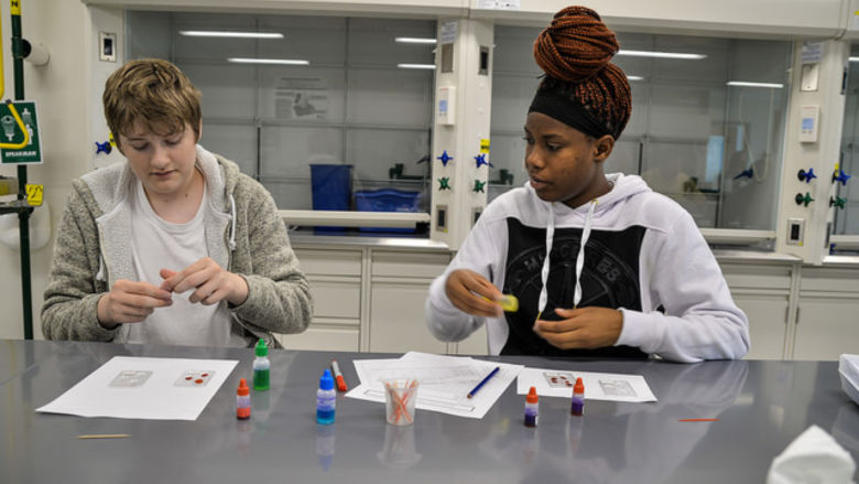 Two students sit at lab table and look at vials of faux blood.