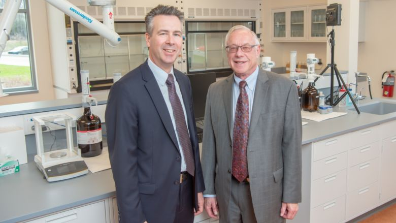 Chancellor Ralph Ford and HERO BX founder Pat Black stand in a new research lab at Penn State Behrend