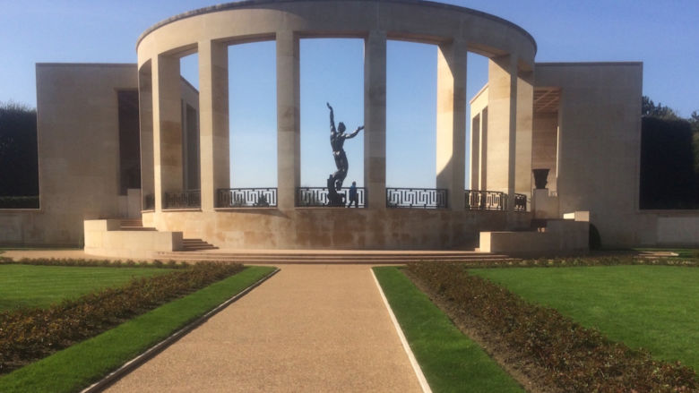 A view of the memorial at the American Cemetery at Normandy.