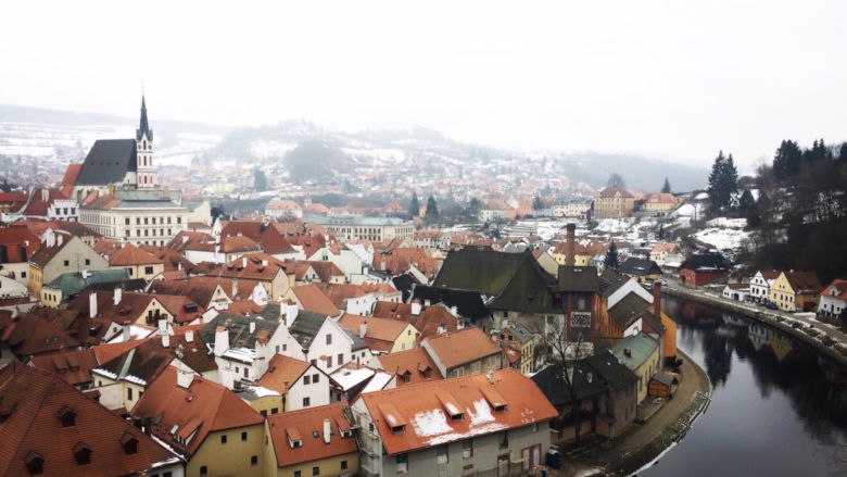 The village of Cesky Krumlov, shot from above.
