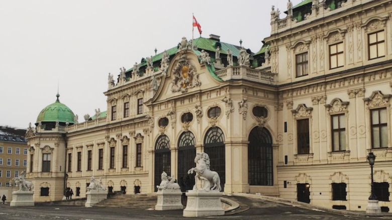 The entrance to the Belvedere Museum in Vienna.