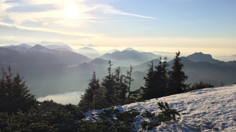 The view from a mountain in Wolfgangsee.