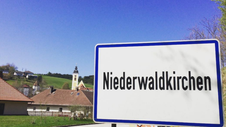 The sign as you enter the Austrian town of Niederwaldkirchen.