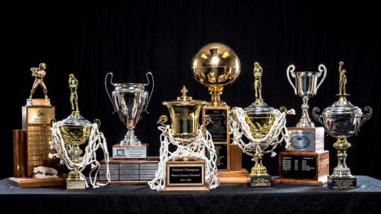 Several of Penn State Beaver's athletics trophies.
