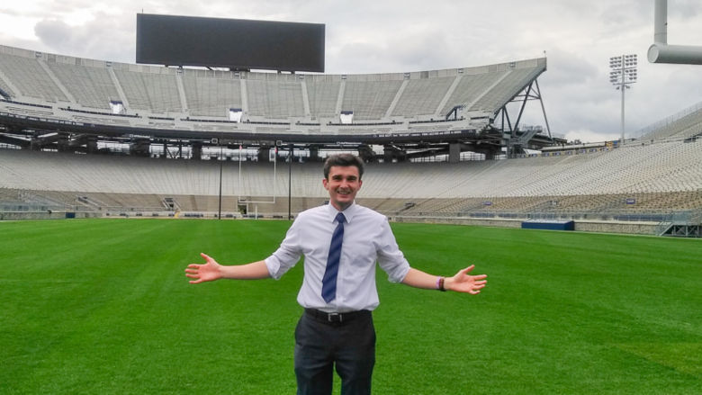 Ty Cole stands on the field in an empty Beaver Stadium.