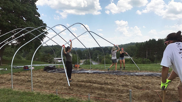 Students lift a large, curved metal pole into place over garden.